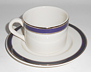 American Airlines Cobalt W/platinum Band Cup/saucer Set