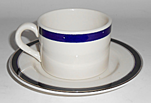 American Airlines Cobalt Band Cup/saucer Set Mint