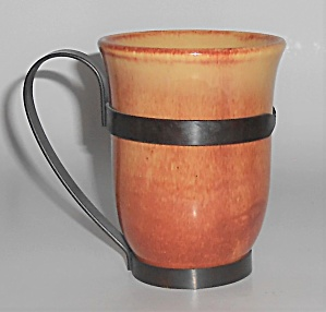 Franciscan Pottery El Patio Golden Glow Tumbler W/Metal (Image1)