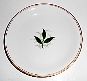 Noritake China Porcelain Green Leaves /gold Bread Plate