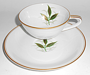 Noritake China Porcelain Green Leaves W/gold Cup/saucer