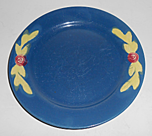 "Coors Pottery Rosebud 7"" Blue Plate"