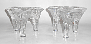 Kosta Boda Goran Warff Pair Triple Candlestick Holders