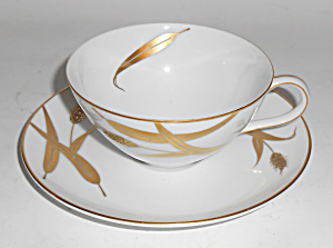 Meito China Porcelain Japan Midas Gold Wheat Cup/saucer