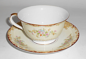 Noritake Porcelain China Mystery 175 W/gold Cup/saucer