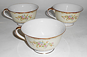 Noritake Porcelain China Mystery 175 W/gold Set/3 Cups