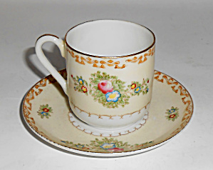 Mk Porcelain China Occupied Japan Floral W/gold Cup/sau