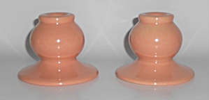 Franciscan Pottery El Patio Pair 133 Coral Candlesticks (Image1)