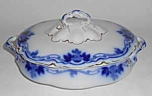 W.h. Grindley Flow Blue China The Hofburg Covered Veg