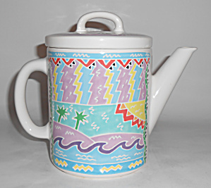 Chaleur Pottery Tropical Teapot By Judith Geiger