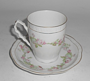 Z S & Co Bavaria Porcelain Pink Roses W/gold Demi Cup/s