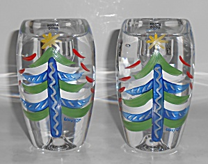 Kosta Boda Glass Pair Candle Holders Christmas Tree