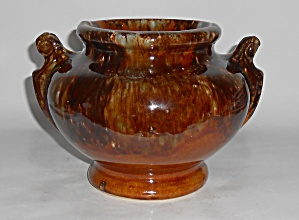 Brush Mccoy Pottery Brown Onyx Handled Urn Vase