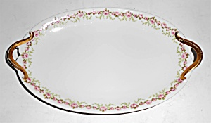 Chas Field Haviland Limoges Pink Roses Relish Dish