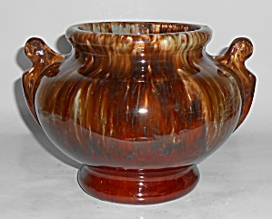 Brush Mccoy Pottery Brown Onyx Handled Urn Vase Mint