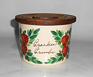 Bauer Pottery Strawberry Decorated Cracker Jar W/lid