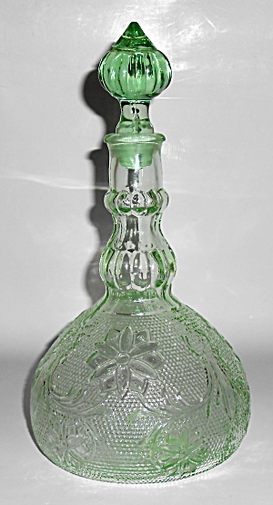 Indiana Glass Tiara Green Sandwich Decanter W/cap