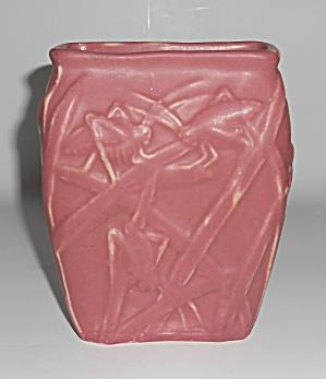 Muncie Art Pottery Matte Rose #194 katydid Vase (Image1)