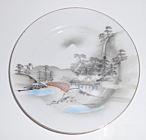 Noritake Porcelain Morimura China River Bridge Huts Mt