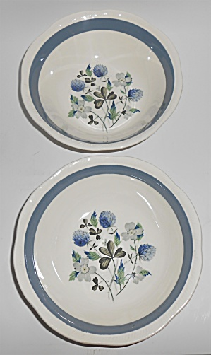 Alfred Meakin China Blue Clover Pair Cereal Bowls