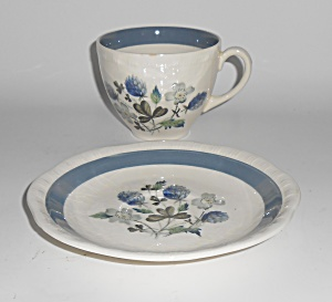 Alfred Meakin China Blue Clover Cup & Saucer Set