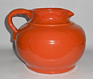 Bauer Art Pottery Matt Carlton Orange Squat Pitcher