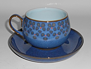 Denby Pottery Stoneware Midnight Cup/saucer Set