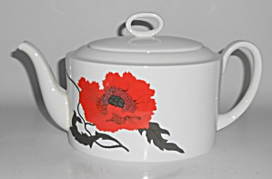 Wedgwood Pottery China Susie Cooper Cornpoppy Teapot W/