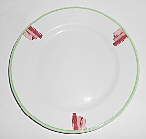 Syracuse China Art Deco Red/green Restaurant Salad Pl