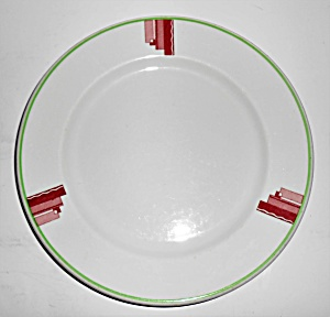 Syracuse China Art Deco Red/green Restaurant Dinner Pl