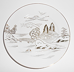 Hayasi Kutani China Porcelain Gold Countryside Mountain
