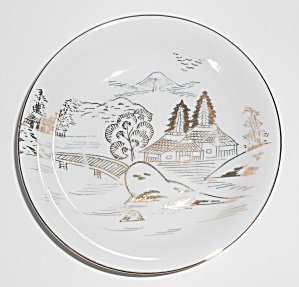 Hayasi Kutani China Porcelain Gold Countryside Mt Fuji