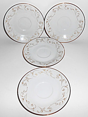 Noritake Porcelain China Duetto W/gold Set/4 Saucers
