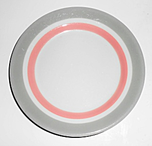 Syracuse China Restaurant Ware Grey/pink Bands Bread Pl