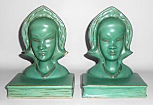 Roseville Pottery Pair Burmese Matte Green Bookends (Image1)