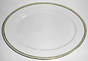 Heinrich & Co Porcelain Green Greek Key W/gold Platter