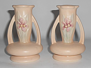 Hull Art Pottery Pair Iris 411 Candlestick Holders