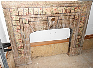 Vintage Mission Arts & Crafts Tile Fireplace Surround