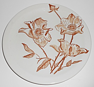 Iroquois Restaurant China Brown Floral Rose Luncheon Pl