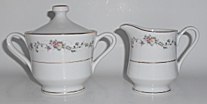 Acsons Porcelain China Limoge Floral W/gold Creamer & S