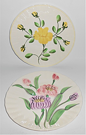 Blue Ridge Pottery China Pair Floral Salad Plates