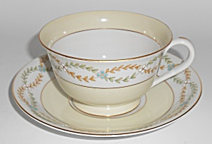 Early Noritake China Laurel Swags W/gold Band Cup & Sau