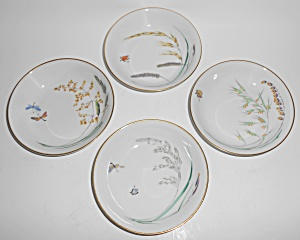 Heinrich & Co Porcelain Butterfly W/gold Set/4 Fruit