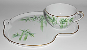 Noritake Porcelain China 1538g Bamboo Snack Plate/cup