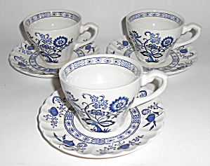 J & G Meakin China Blue Nordic Set/3 Cups/saucers Mint