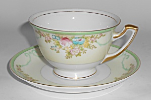 Meito China Porcelain Japan Floral Gold Green Yellow Cu
