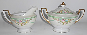 Meito China Porcelain Japan Floral Gold Green Yellow Cr