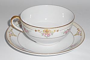 Noritake Nippon Porcelain China Floral/Gold Cup/Saucer (Image1)
