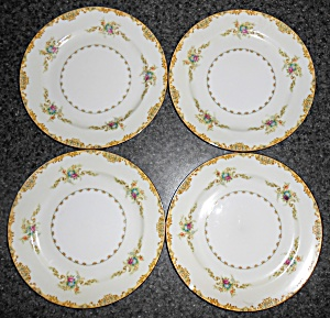 Noritake Porcelain China Mystery 175 W/gold 4 Dinner Pl
