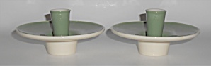 Franciscan Pottery Contours Art Ware Pair Green Candle (Image1)